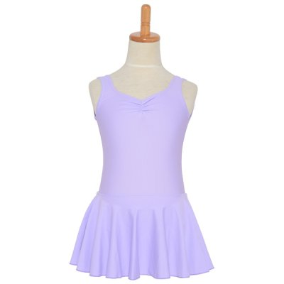 Photo2: Junior Kids Leotard, 'LEICA' Mint green, Pinch gather in the neck with skirt. Cool & Dry, UPF50+