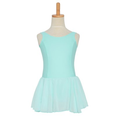 Photo2: Junior Kids Leotard, 'CANDIE' Off white, with Chiffon Skirt. Cool & Dry, UPF50+