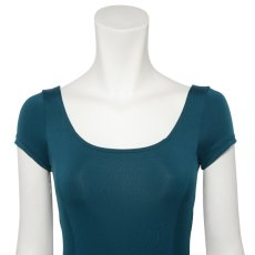 Photo4: Womens Leotard, 'MOMO'   Emerald green,   1/5 Sleeve, Gathered along both hipbones, Cool & Dry, UPF50+ (4)