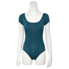 Photo2: Womens Leotard, 'MOMO'   Emerald green,   1/5 Sleeve, Gathered along both hipbones, Cool & Dry, UPF50+ (2)