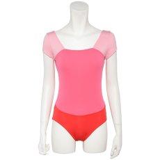 Photo2: Womens Leotard, 'Gabriela'  Pink,   1/5 Sleeve, A gradation, Cool & Dry, UPF50+ (2)