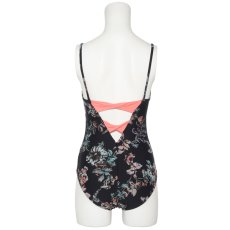 Photo1: Womens Leotard, 'SUMICA'  Navy,   Two(2) ribbons on the back,  Flower pattern, Cool & Dry, UPF50+ (1)