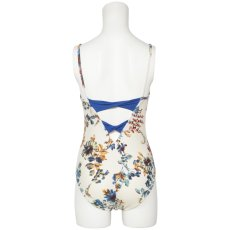 Photo7: Womens Leotard, 'SUMICA'  Navy,   Two(2) ribbons on the back,  Flower pattern, Cool & Dry, UPF50+ (7)