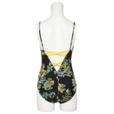 Photo9: Womens Leotard, 'SUMICA'  Navy,   Two(2) ribbons on the back,  Flower pattern, Cool & Dry, UPF50+ (9)