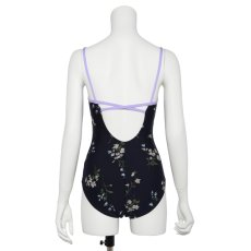 "Photo1: Womens Leotard, 'SUMILE'  Navy,   ""X"" cross on the back,  Japanese flower, Cool & Dry, UPF50+ (1)"