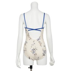 "Photo7: Womens Leotard, 'SUMILE'  Navy,   ""X"" cross on the back,  Japanese flower, Cool & Dry, UPF50+ (7)"