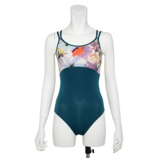Photo12: Womens Leotard, 'CANNA'  Royal blue, Two(2) Crossed shoulder straps, Cool & Dry, UPF50+ (12)