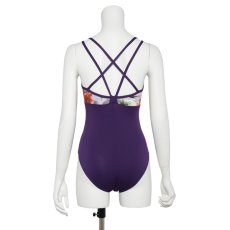 Photo13: Womens Leotard, 'CANNA'  Royal blue, Two(2) Crossed shoulder straps, Cool & Dry, UPF50+ (13)