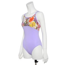 Photo3: Womens Leotard, 'CANNA'  Lavender, Two(2) Crossed shoulder straps, Cool & Dry, UPF50+ (3)