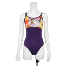 Photo10: Womens Leotard, 'CANNA'  Royal blue, Two(2) Crossed shoulder straps, Cool & Dry, UPF50+ (10)