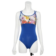 Photo2: Womens Leotard, 'CANNA'  Royal blue, Two(2) Crossed shoulder straps, Cool & Dry, UPF50+ (2)