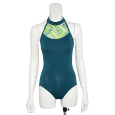 Photo8: Womens Leotard, 'AZUSA'  Black, Stretch net, Halter neck, Cool & Dry, UPF50+ (8)