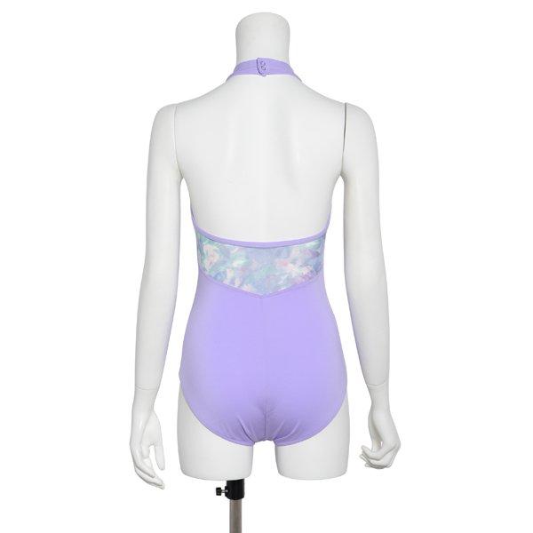 Photo1: Womens Leotard, 'SATSUKI'  Lavender, Stretch net, Halter neck, Cool & Dry, UPF50+ (1)