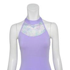 Photo4: Womens Leotard, 'SATSUKI'  Lavender, Stretch net, Halter neck, Cool & Dry, UPF50+ (4)