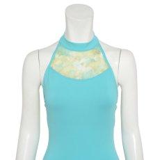 Photo4: Womens Leotard, 'SATSUKI'  Mint green, Stretch net, Halter neck, Cool & Dry, UPF50+ (4)
