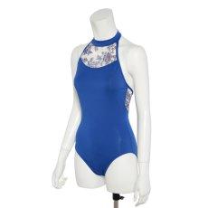 Photo3: Womens Leotard, 'TSUYUKUSA'  Royal blue, Stretch net, Halter neck, Cool & Dry, UPF50+ (3)