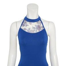 Photo4: Womens Leotard, 'TSUYUKUSA'  Royal blue, Stretch net, Halter neck, Cool & Dry, UPF50+ (4)