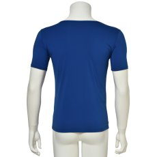 "Photo3: Mens Leotard, ""TOHDOH"" Royal blue,  Fitted muscle T-shirts V-neck, Cool & Dry, UPF50+ (3)"