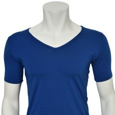 "Photo4: Mens Leotard, ""TOHDOH"" Royal blue,  Fitted muscle T-shirts V-neck, Cool & Dry, UPF50+ (4)"