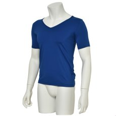 "Photo2: Mens Leotard, ""TOHDOH"" Royal blue,  Fitted muscle T-shirts V-neck, Cool & Dry, UPF50+ (2)"