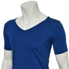 "Photo5: Mens Leotard, ""TOHDOH"" Royal blue,  Fitted muscle T-shirts V-neck, Cool & Dry, UPF50+ (5)"