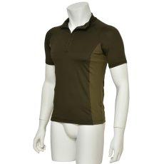 "Photo2: Mens Leotard, ""MUNAKATA"" Khaki, Fitted muscle zip-up T-shirts, Cool & Dry, UPF50+ (2)"