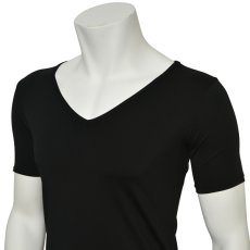 """Photo5: Mens Leotard, """"TOHDOH"""" Black,  Fitted muscle T-shirts V-neck, Cool & Dry, UPF50+ (5)"""