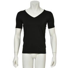 """Photo1: Mens Leotard, """"TOHDOH"""" Black,  Fitted muscle T-shirts V-neck, Cool & Dry, UPF50+ (1)"""