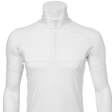 "Photo4: Mens Leotard, ""MUNAKATA"" White, Fitted muscle zip-up T-shirts, Cool & Dry, UPF50+ (4)"