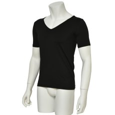 """Photo2: Mens Leotard, """"TOHDOH"""" Black,  Fitted muscle T-shirts V-neck, Cool & Dry, UPF50+ (2)"""