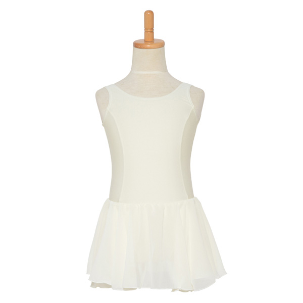 Photo1: Junior Kids Leotard, 'CANDIE' Off white, with Chiffon Skirt. Cool & Dry, UPF50+ (1)