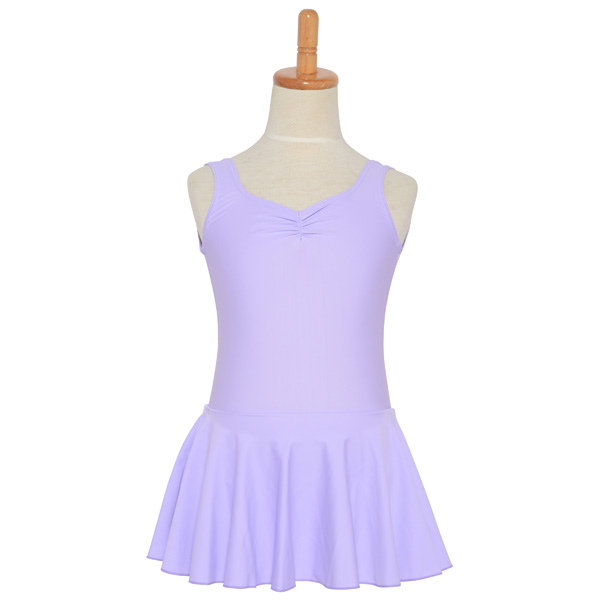 Photo1: Junior Kids Leotard, 'LEICA' Lavender, Pinch gather in the neck with skirt, Cool & Dry, UPF50+ (1)