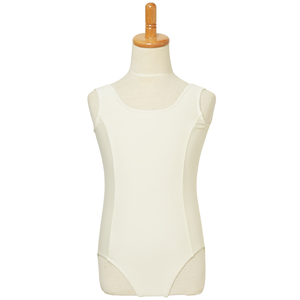 Photo1: Junior Kids Leotard, 'ANNIE' Off white, Princess line Not easy to be seen through, Cool & Dry, UPF50+ (1)