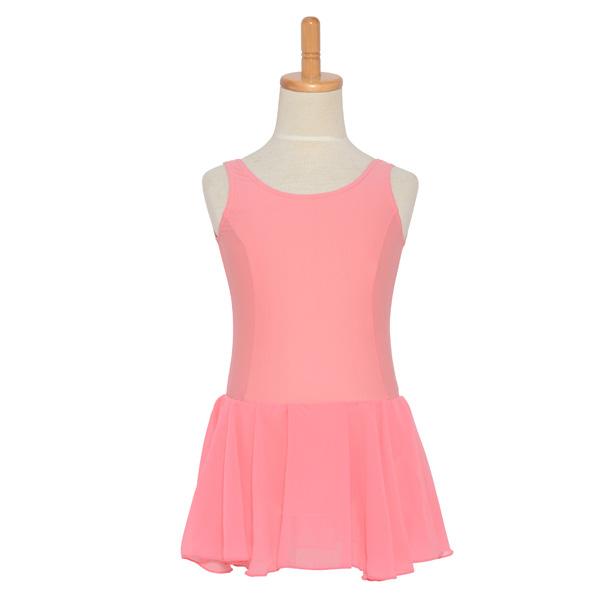 Photo1: Junior Kids Leotard, 'CANDIE' Pink, with Chiffon Skirt. Cool & Dry, UPF50+ (1)
