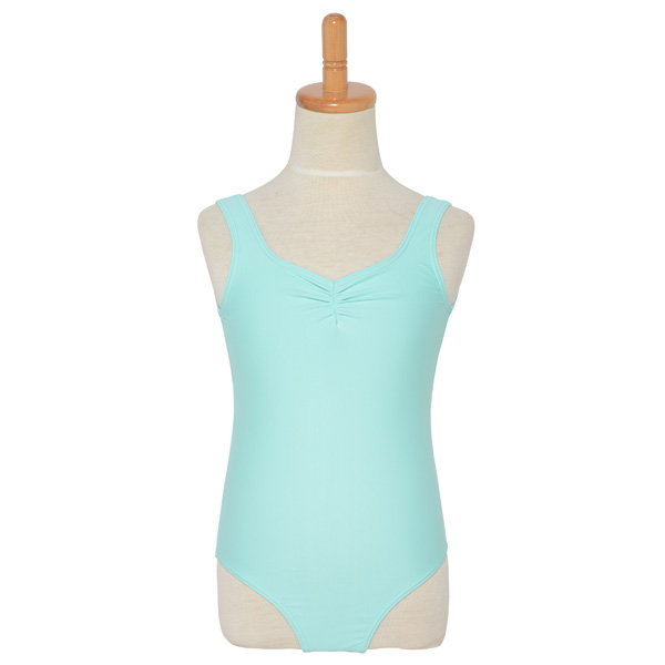 Photo1: Junior Kids Leotard, 'HIROMI'  Mint green,  Pinch gather in the neck. Cool & Dry, UPF50+ (1)