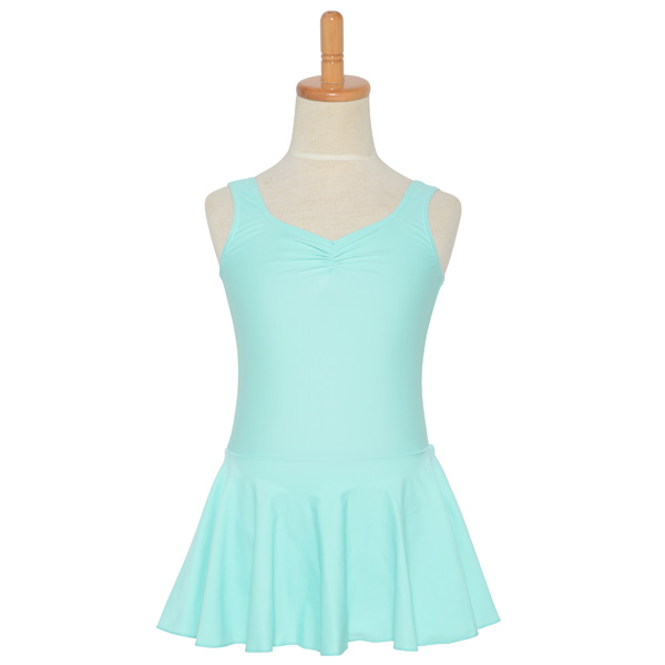 Photo1: Junior Kids Leotard, 'LEICA' Mint green, Pinch gather in the neck with skirt. Cool & Dry, UPF50+ (1)