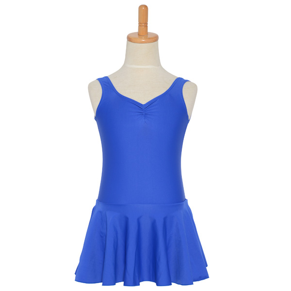 Photo1: Junior Kids Leotard, 'LEICA' Royal blue, Pinch gather in the neck with skirt. Cool & Dry, UPF50+ (1)