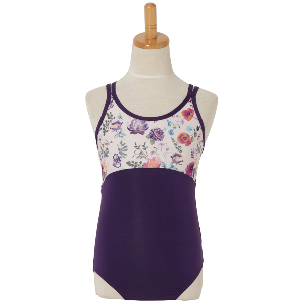 Photo1: Junior Kids Leotard, 'CANNA girl', Camisole. Cool & Dry, UPF50+ (1)