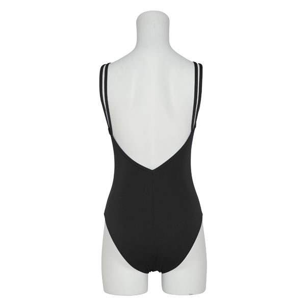 Photo1: Womens Leotard, 'AYAME' Black, Gathered along both hipbones, Cool & Dry, UPF50+ (1)