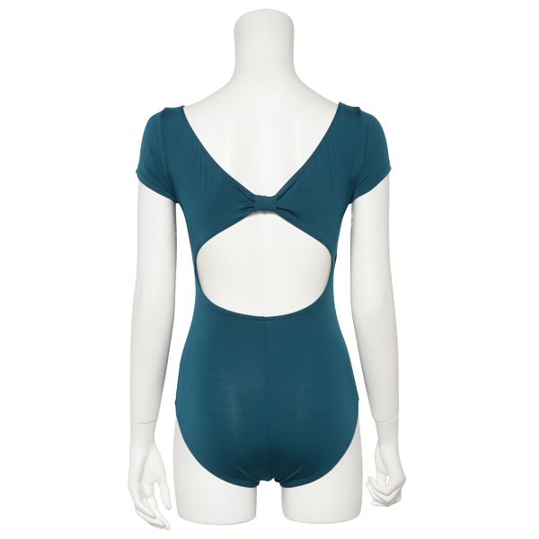 Photo1: Womens Leotard, 'MOMO'   Emerald green,   1/5 Sleeve, Gathered along both hipbones, Cool & Dry, UPF50+ (1)
