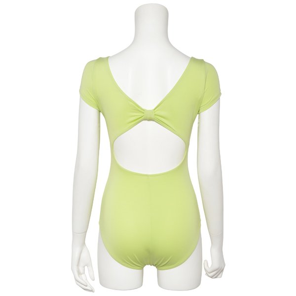 Photo1: Womens Leotard, 'MOMO'  Yellow green,   1/5 Sleeve, Gathered along both hipbones, Cool & Dry, UPF50+ (1)