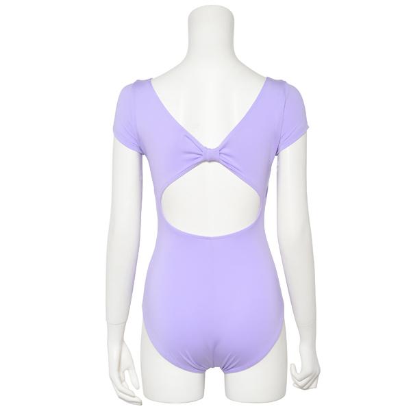 Photo1: Womens Leotard, 'MOMO'  Lavender,   1/5 Sleeve, Gathered along both hipbones, Cool & Dry, UPF50+ (1)