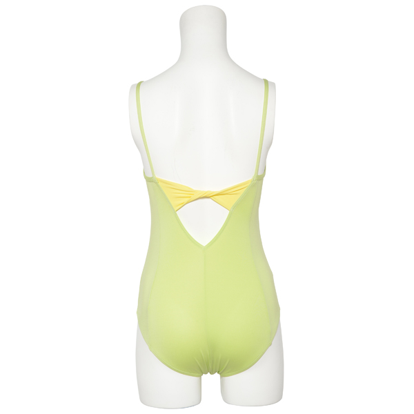 Photo1: Womens Leotard, 'Emiria'  Yellow green,   Camisole,Ribbon on the back, Cool & Dry, UPF50+ (1)