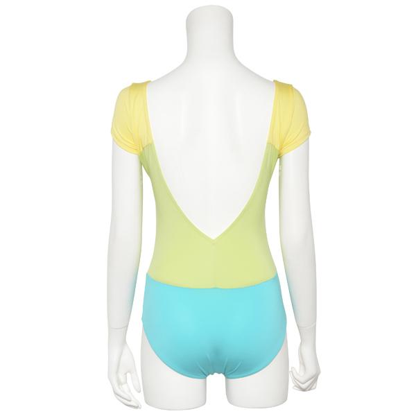 Photo1: Womens Leotard, 'Gabriela'  Yellow green,   1/5 Sleeve, A gradation, Cool & Dry, UPF50+ (1)