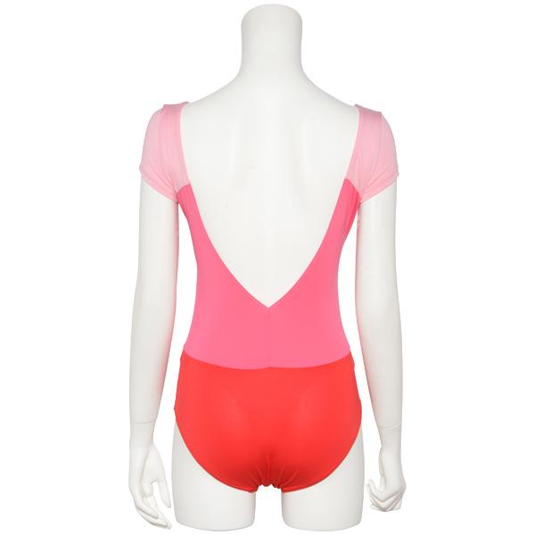 Photo1: Womens Leotard, 'Gabriela'  Pink,   1/5 Sleeve, A gradation, Cool & Dry, UPF50+ (1)