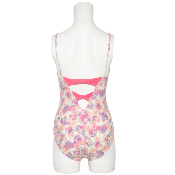 Photo1: Womens Leotard, 'ELICA'  Lavender,   Two(2) ribbons on the back,  Flower pattern, Cool & Dry, UPF50+ (1)