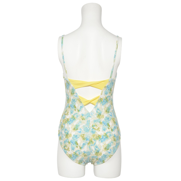 Photo1: Womens Leotard, 'ELICA'  Blue green   Two(2) ribbons on the back,  Flower pattern, Cool & Dry, UPF50+ (1)