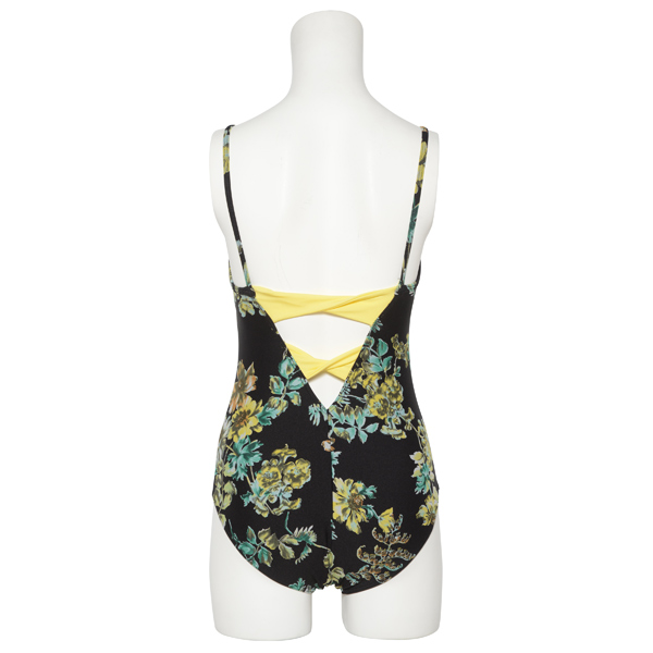 Photo1: Womens Leotard, 'SUMICA'  Black,   Two(2) ribbons on the back,  Flower pattern, Cool & Dry, UPF50+ (1)