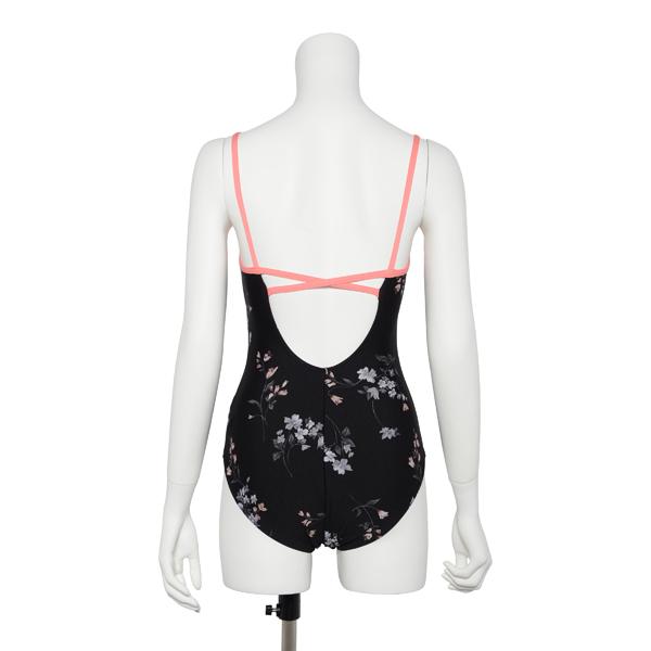 "Photo1: Womens Leotard, 'SUMILE'  Black,   ""X"" cross on the back,  Japanese flower, Cool & Dry, UPF50+ (1)"
