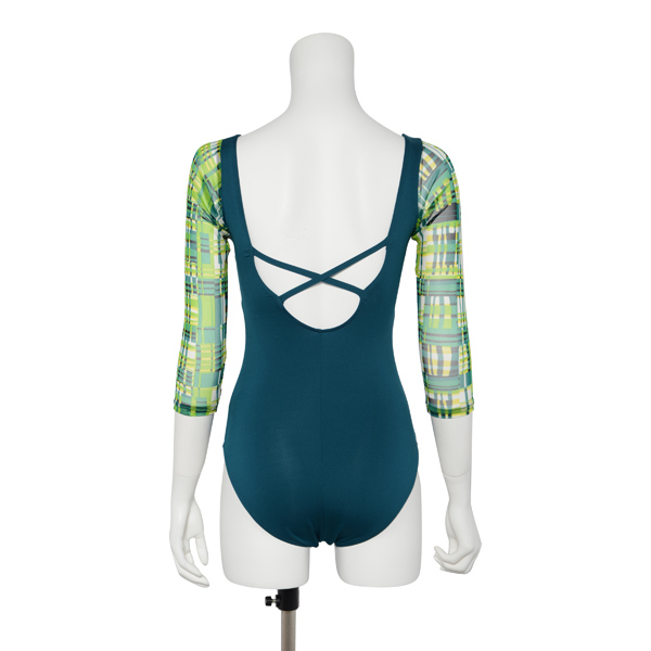 Photo1: Womens Leotard, 'TUBAKI'  Emerald green, Stretch net 3/4 sleeve, Cool & Dry, UPF50+ (1)